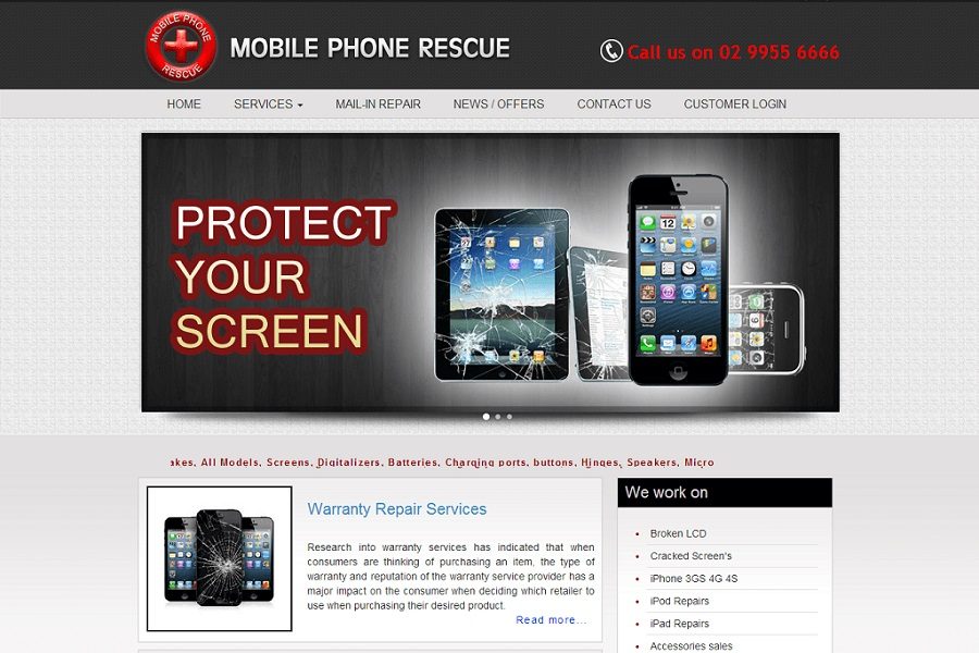 Mobile Phone Rescue web designing North Sydney