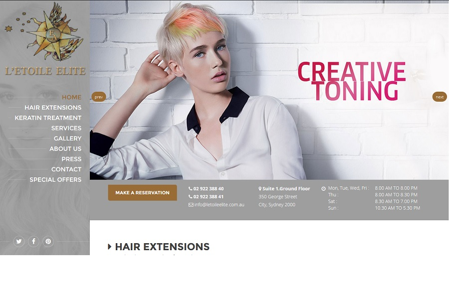 Salon ecommerce website designing sydney CBD